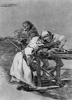 """Francisco Goya. """"Hurry up, they already Wake up"""" (Series """"Caprichos"""", page 78)"""