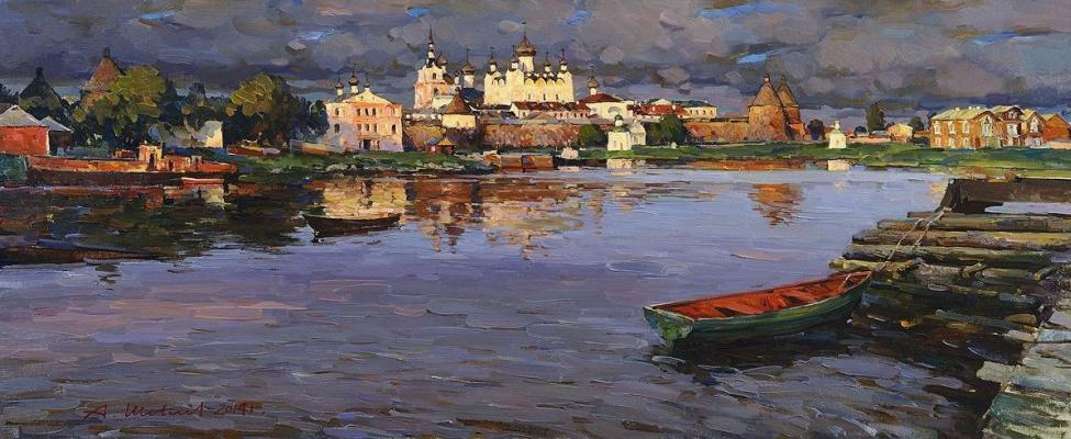 Alexander Victorovich Shevelyov. The Solovetsky monastery.Oil on canvas 43,8 x 105,3 cm 2014
