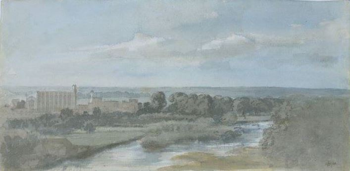 John Constable. Thames, Eton College and chapel
