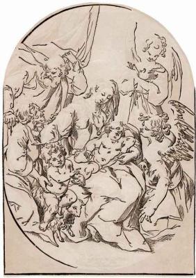 Жорж Лаллеман. Святое семейство с маленьким Иоанном Крестителем на ягненке