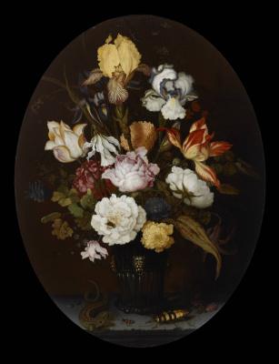 Балтазар ван дер Аст. Натюрморт с цветами в стеклянной вазе, ящерицей и насекомыми