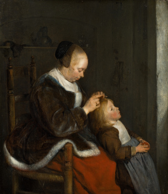 Gerard Terborch (ter Borch). Mother Combing Her Child's Hair. 'Hunting for Lice'