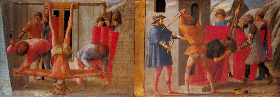 Tommaso Masaccio. Crucifixion of St. Peter and the beheading of the head of John the Baptist. Pizansky polyptych