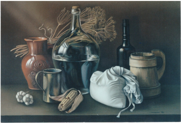 Galina Petrovna Khmelevskaya. Still Life with a Glass Bottle