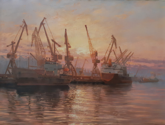 Valentin Revelioti. Sunset in the port