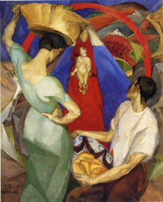 Diego Maria Rivera. The veneration of the Holy mother and baby Jesus