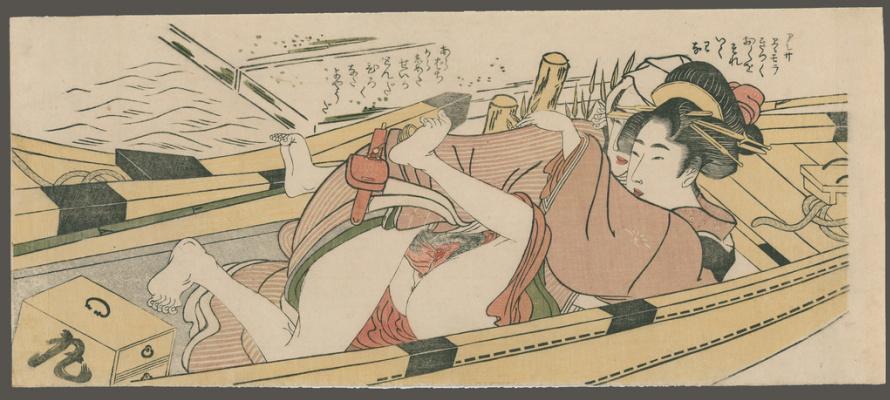 Китагава Утамаро. Влюбленные в лодке