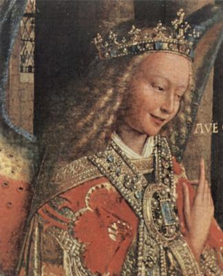 Ян ван Эйк. Благовещение, деталь: Благовествующий ангел