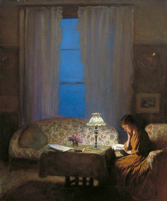 George Clausen. Reading by the light bulb (Twilight interior)