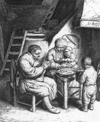 Адриан ван Остаде. Молитва перед едой