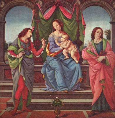 Lorenzo di Credi. Mary and child with two saints