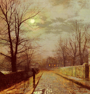 John Atkinson Grimshaw. Lunar landscape. Lane in Cheshire