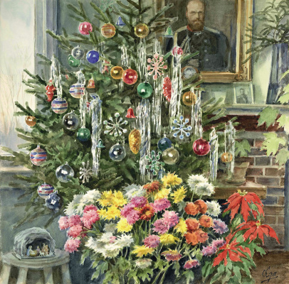 Olga Alexandrovna Romanova. Christmas at the Grand Duchess Olga Alexandrovna with a portrait of Alexander III