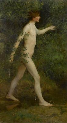 Tuke Henry Scott. 1858-1929. A woodland bather, 1891 - 1893