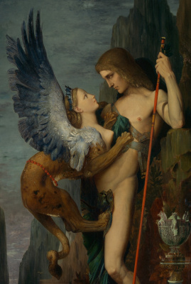 Gustave Moreau. Oedipus and Sphinx. Fragment