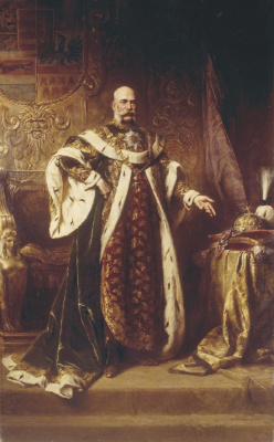 Gyula Benzur. Emperor Franz Joseph I in the mantle with the Great Knight's Cross of the Hungarian Order of St. Stephen