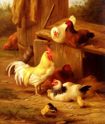 Эдгар Хант. Куры и цыплята