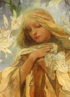 Alphonse Mucha. Madonna of the lilies (detail)