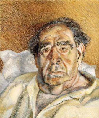 Lucien Freud. Lord Goodman in his yellow pajamas