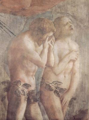 Томмазо Мазаччо. Изгнание из рая, фрагмент: Адам и Ева. Капелла Бранкаччи в Санта Мария дель Кармине во Флоренции