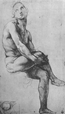 "Raphael Santi. Sketch for the fresco ""Dispute"". Study of a seated Nude"