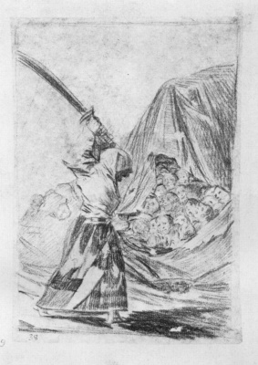 Francisco Goya. The pattern for a series of etchings Caprichos: a Woman with a naked sword and head Modern Judith