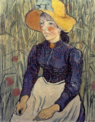 Vincent van Gogh. Portrait of a young woman in a straw hat in the wheat