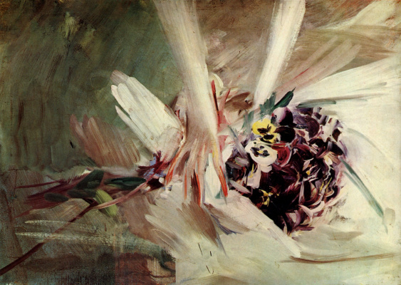 Giovanni Boldini. Pansies in female hands