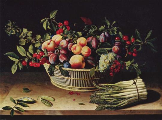 Луиза Муайон. Гроздья винограда, яблоки и дыни