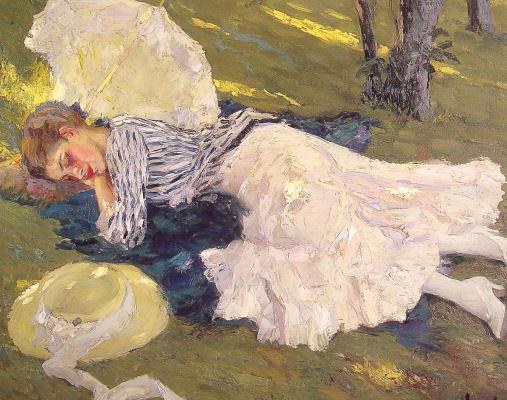 Эдвард Кукуэль. Девушка на траве