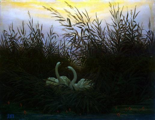 Caspar David Friedrich. Swans in the reeds