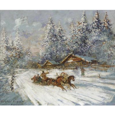 Константин Алексеевич Коровин. Тройка мчится по снегу
