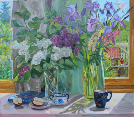 Eugene Alexandrovich Kazantsev. Still life lilac, irises.