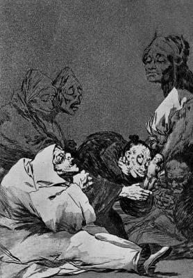 "Francisco Goya. A series of ""Caprichos"", page 47: the Offering to the teacher"