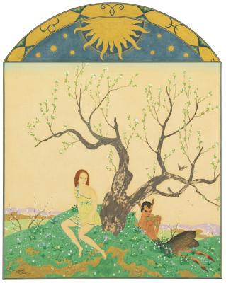 Edmund Dulac. Времена года. Весна.   золото