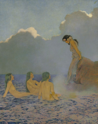 Maxfield Parrish. Proserpine and sea nymphs