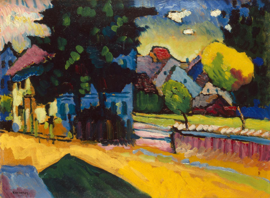 "Wassily Kandinsky. View Of Murnau. The sketch for the painting ""Landscape with green house"""