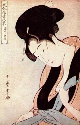 Kitagawa Utamaro. Woman in bedroom on rainy night