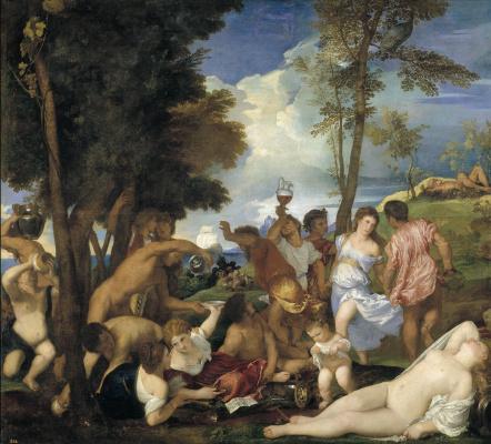 Titian Vecelli. Andriske Orgy (Orgy)