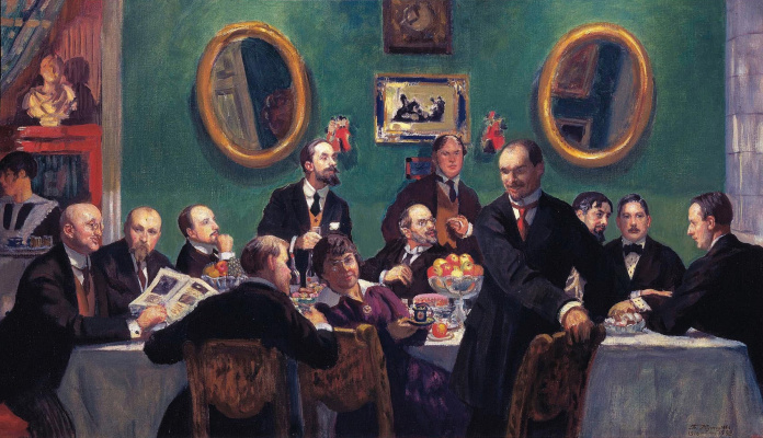 """Boris Mikhailovich Kustodiev. Group portrait of the artists society """"World of art"""". The sketch of the unfinished painting"""