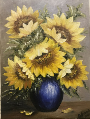 Svetlana Ivanova. Sunflowers in a blue vase