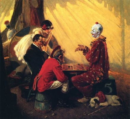 Norman Rockwell. The game of checkers