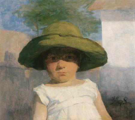 Шимон Холлоши. Девочка в большой зеленой шляпе
