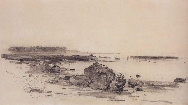 "Alexey The Kondratyevich Savrasov. The shore of the sea. Twilight. A sketch for the painting ""Sea coast in the vicinity of Oranienbaum"""