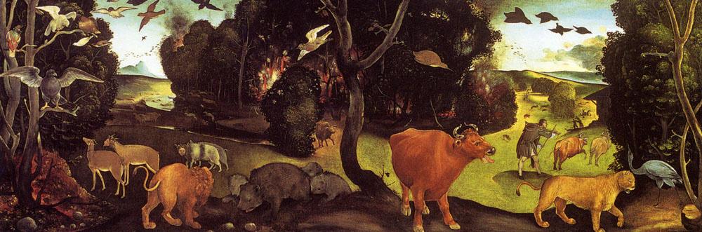 Piero di Cosimo. A fire in the woods