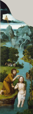 Joachim Patinir. The penitence of St. Jerome. Left wing of the altar