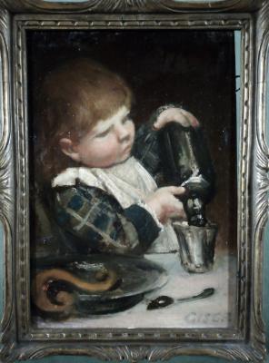 """RBJ Berg (1851-1935). """"Boy with a bottle"""""""