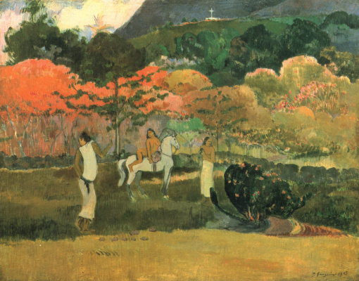 Paul Gauguin. Women and white horse