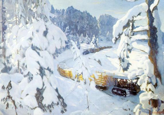 Аркадий Александрович Рылов. Трактор на лесных работах