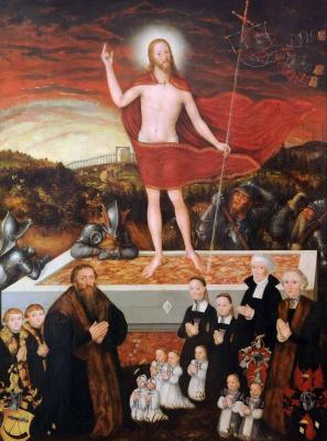 Лукас Кранах Младший. Воскресение Христа с донатором и его семьей